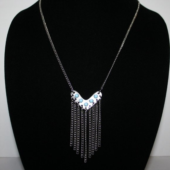 """Beautiful silver and turquoise necklace 21"""""""
